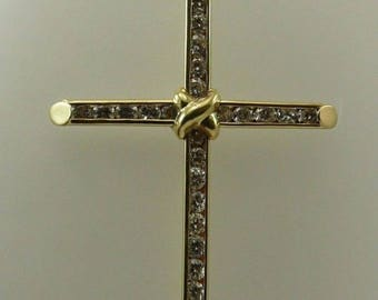Cubic Zirconia Cross Pendant 14k Yellow Gold