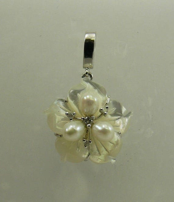 Mother of Pearl,Freshwater Pearl & Diamond Pendant with Sterling Silver Setting