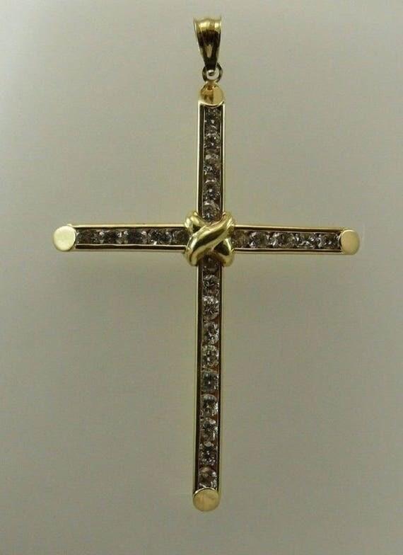 Cubic Zirconia Cross Pendant 14k Yellow Gold