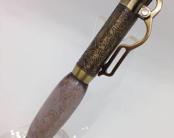 Antique brass lever action pen with deer antler