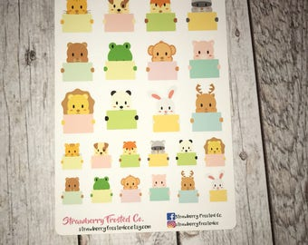 Animal Holding Notecard Planner Stickers - Made to fit Vertical or Horizontal Layout