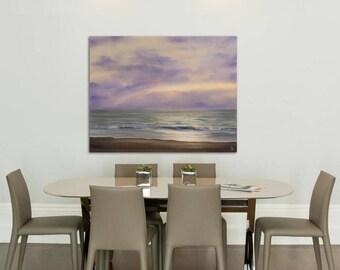 Large Seascape Sunrise Painting, Fine Art, Living Room Ocean Art, Original Large Oil Painting on Canvas, Purple Ocean Waves Painting