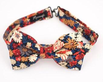 "Bow tie in Liberty ""Thorpe burnt"" orange adjustements bowtie men, wedding accessory"