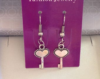 Special Valentine heart key earrings