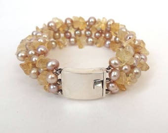 Pink Freshwater Pearl Citrine Chip Bracelet Sterling Silver Beaded Cuff  1950s Wedding UK