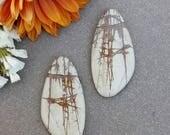 Red Creek Jasper Asymmetrical Teardrop Cabochon Pair >> Beige, Brown, Wing, Matching Pair, Size: 40mm x 20mm, Gemstone