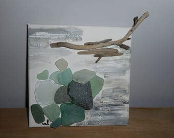 Driftwood and sea glass frame