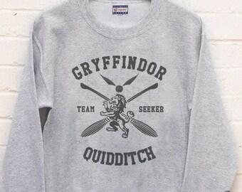 SEEKER - Gryffin Quidditch team Seeker printed on Light steel color Crew neck Sweatshirt