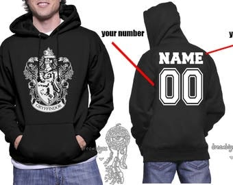 Custom on back, Gryffin Crest #1 White back and crest printed on Black Hoodie