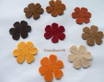 36 Autumn Felt Flowers (3 sizes) D , Felt Flowers Shape, Filz Blumen