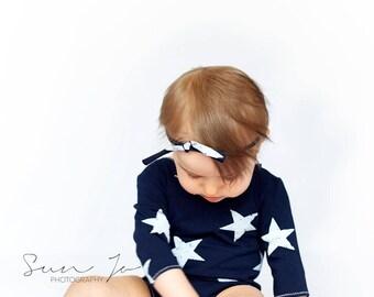 Baby girl sitter romper set navy blue stars photo prop