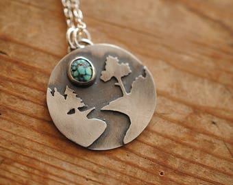 River Scene Turquoise & Silver Pendant | Necklace