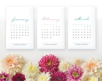 2018 Printable Monthly Calendar - Elegant Color 12 Month Desk Calendar - Home Organizing - 2018 Instant Download Calendar