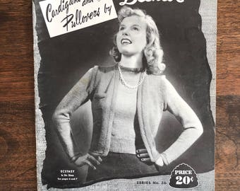 "Beehive ""Cardigans and Pullover"" Pattern Booklet, No. 36, Made in Canada, Magazine, Vintage"