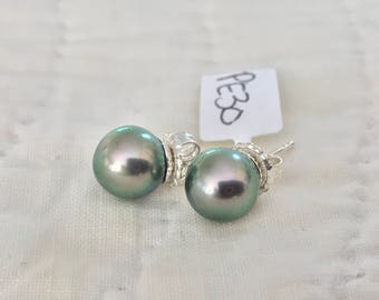 Cultured Tahitian Pearl Stud Earrings, Sterling Silver (PE30)