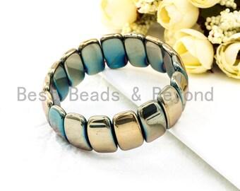 Iridescent Green Burlywood Natural Hematite Stretch Bracelet,Gemstone Beaded bracelet, Links Hematite Bracelet, Elastic bracelet SKU#S67