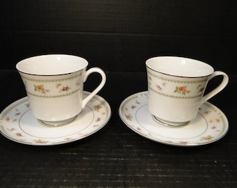 TWO Abingdon Japan Tea Coffee Cup Saucer Sets 2 EXCELLENT!