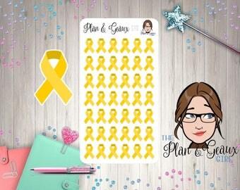 Gold Awareness Ribbon Stickers, Childhood Cancer Awareness Ribbon, Gold Ribbon, Bullet Journal, Happy Planner, FUN-278