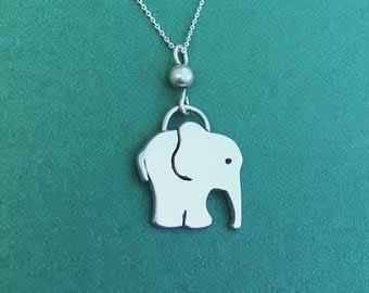 Elephant Necklace, Sterling Silver Necklace, Elephant Pendant, Animal Jewellery