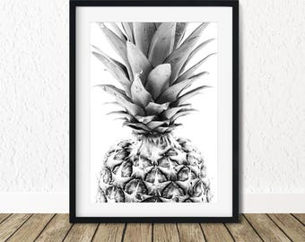 Pineapple Prints, Pineapple Poster, Pineapple Print Art, Pineapple Decor, Printable Pineapple, Black White Pineapple, Pineapple Art