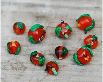 Apple beads, Set of 5 lampwork  apple beads, glass apples, lampwork beads set, fruits beads, fruit beads, fruit jewelry,  teacher gifts