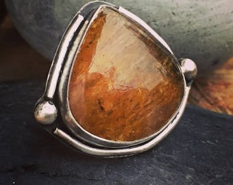 Baltic Amber Ring, Sterling Silver Ring, Amber Ring, Size 8 Ring