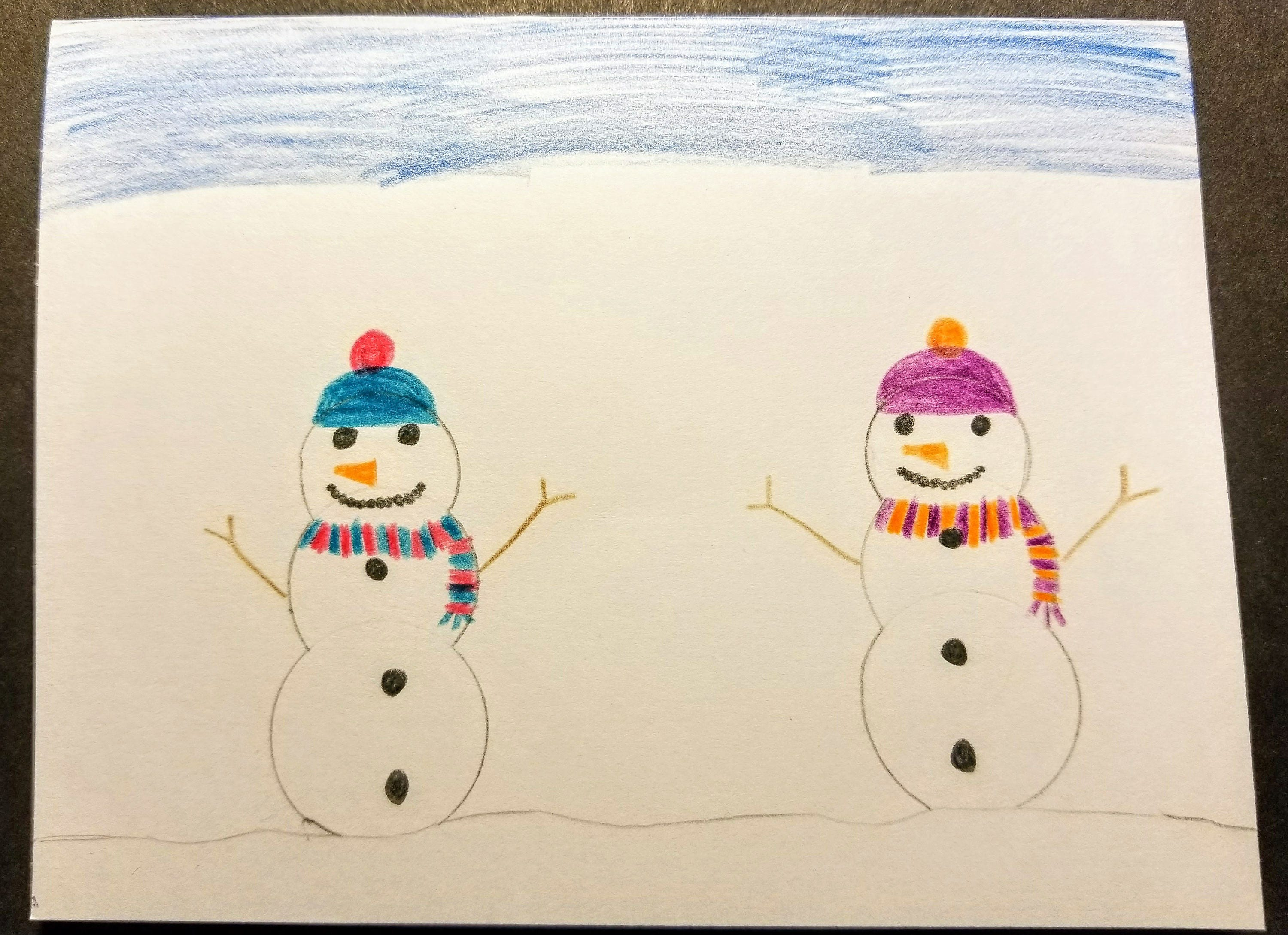 Winter snowmen hand drawn greeting card with envelope drawn by winter snowmen hand drawn greeting card with envelope drawn by 4 sisters kristyandbryce Gallery