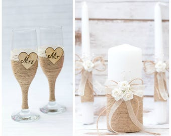 Toasting Glasses Flutes Rustic Unity Set Personalized Wedding Unity Candles Champagne Glasses Rustic wedding Set