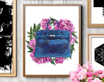 Hermes print, Hermes bag, peony print, Hermes Birkin bag, Hermes illustration, Fashion illustration, Fashion print, Hermes accessories