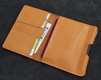 Leather Passport Holder Personalised Passport Cover Gift for Him/Her  - Light Brown Goatskin Leather