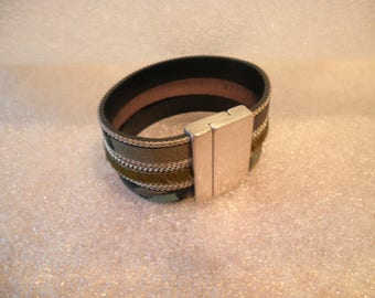 """CAMOUFLAGE"" ((2) leather Cuff Bracelet"