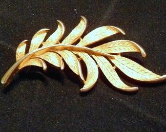 Brooch Pin JJ Jonette Jewelry Textured Leaf Elegant Gold Tone Circa 1980's Gift For Her