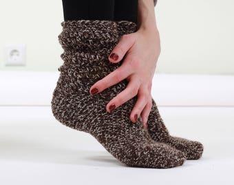 Crochet Wool Socks, Valentines day socks, wool socks women, brown socks, valentines day gift, warm socks, cozy socks, girls socks