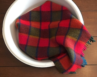 Red and Green Plaid Blanket Layer/ Red and Green Blanket Piece/ Cutter Plaid Throw
