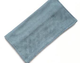 Checkbook cover, checkbook holder, wallet, receipt holder, blue microsuede, floral