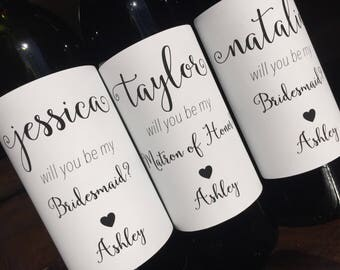 Bridesmaid Proposal-Wine Label-Maid of Honor Proposal-Will you be my Bridesmaid-Bridal Party Gift- Bridesmaid Gift-Wedding Wine-BRIDAL PARTY
