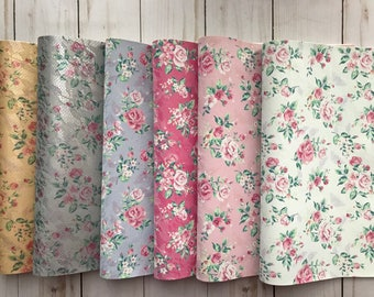 Floral print etsy for Leather sheets for crafting
