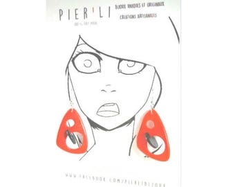 Earrings red and black 3D