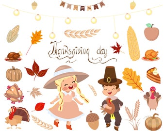 Thanksgiving Day Celebratory dinner, Thanksgiving Clipart, Thanksgiving Graphic, COMMERCIAL USE, Thanksgiving Party, Fall vector graphics