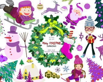Marry Christmas collection, Christmas Clipart, Santa Claus,Winter Clip art,New Year collection,December Clipart,Christmas Tree, Kids clipart