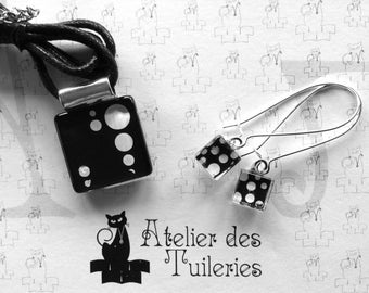 Pattern dots, black and white glass earrings and pendant set