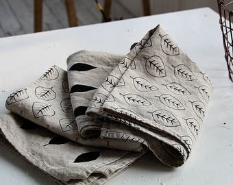 Soft linen towel - Natural thick stonewashed linen towels - Simple kitchen\tea\hand towels - Towel with leaf pattern