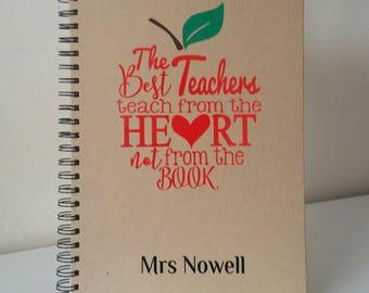 Teacher Notebook, Teacher Gift, Thank you Teacher, Best Teacher, Teacher, Personalised Teacher Gift, A4 notebook