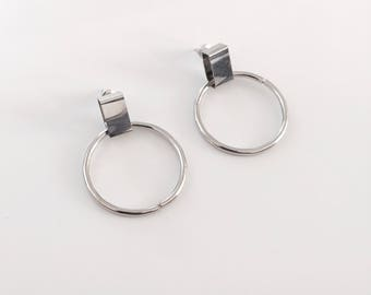 Rectangle circle earrings