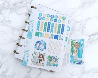 MATTE Mini HP Surf's Up Planner Sticker Kit & Free Bonus Box Girl Sticker - For MINI Happy Planners