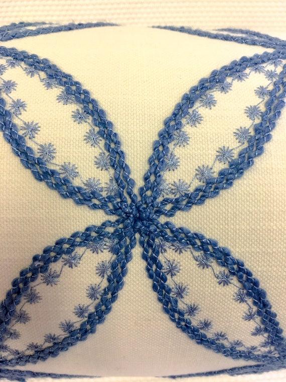 Duralee White And Blue Bolster Pillow Cover Eurosham Or