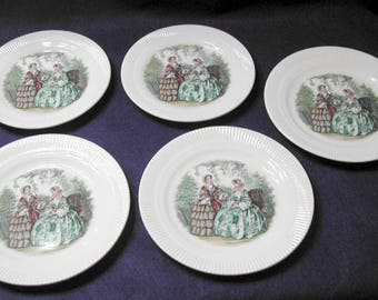 FIVE Small Godey Plates by Salem China, Two Sizes