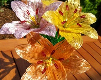 French Beaded Lily's