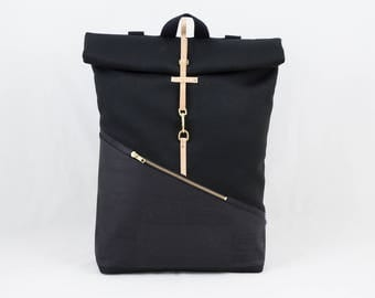 Cork Rolltop backpack with laptop compartment Cork black Canvas