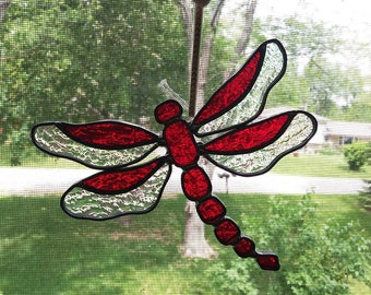 Stained Glass Dragonfly Sun Catcher